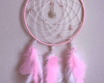 Princess Dreamcatcher, pretty pink dreamcatcher, little girls decor, pretty princess, girly dreamcatcher,boho princess