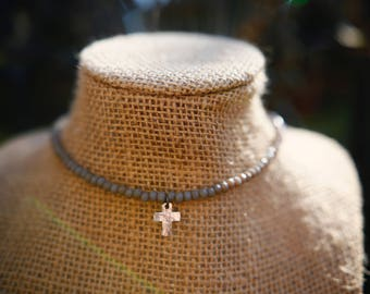 Grey Chinese Crystal Choker With Silver Cross