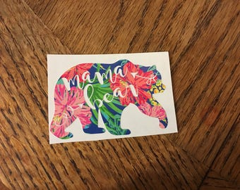 mama bear decal, Hawaiian print