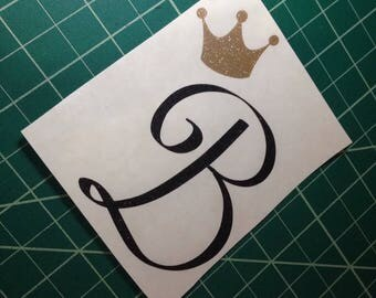 initial and crown decal, monogram decal with crown