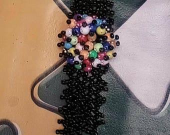 Black Beaded Flower Bracelet