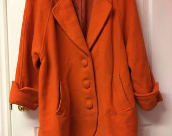 Orange Peacoat - vintage ORANGE Coat - Sz M