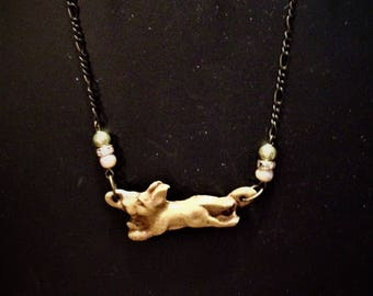 Rustic Running Dog Necklace