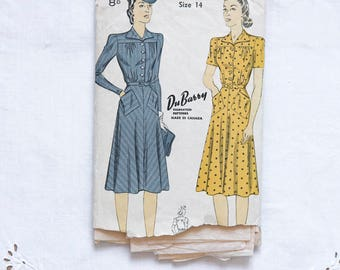 1940s sewing pattern shirt dress shirred neckline