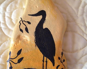 Bird Silhouette Hand Painted River Rock