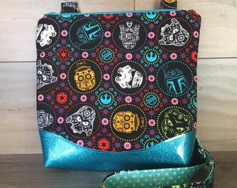 Star Wars, Darth Vader, R2 D2, 3 CPO, Jedi Crossbody, Cosplay, Nerdy,  Teal Glitter Vinyl, Teal and White Polka Dot