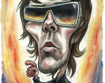 Ian Brown in marching on the spot stance A3 print 600 pixels per inch resolution. Signed by the artist.