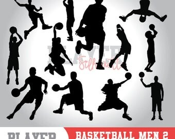 Basketball men SVG, basketball player svg,basketball digital clipart, athlete silhouette,basketball men sport,cut file,design,A-010