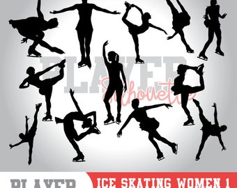 Ice Skating Women SVG, Ice Skating Sport svg, Ice Skating digital clipart, athlete silhouette, Ice Skating Women, cut file, design, A-044