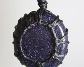 Blue Goldstone Threaded Pendant **Necklace, Keychain