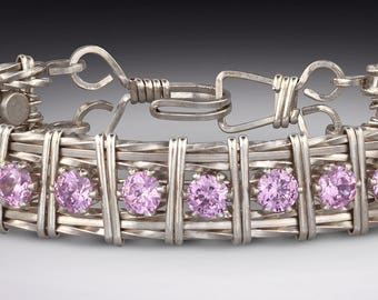 Sterling Silver Wrire Wrap Bracelet with Cubic Zirconia ( CZ)