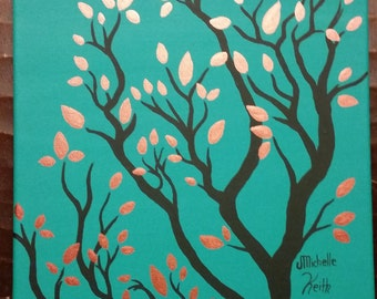 Turquoise Tree with Copper Leaves