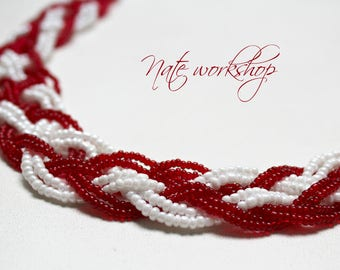 """White-red Necklace, Necklace,Jewelry,Necklace for her ,for her, beads, bijouterie, necklace from beads,red,pendant fish """"NecklaceByNadi"""""""