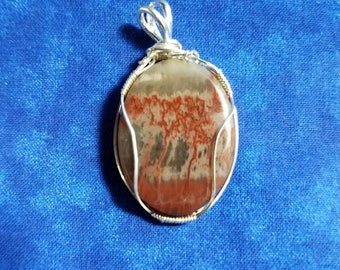 Oval Petrified Wood Pendant wrapped in 22G Sterling Silver