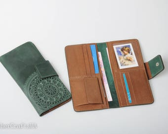 Soft leather wallet, green wallet ladies,  mandala wallet, wallet with coin pocket, full grain wallet, clutch wallet, womens wallet