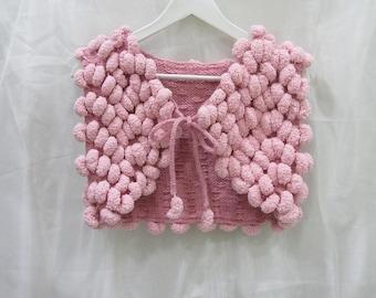 Knitted vest,present,knitted goods,vest,handmade vest, knit vest,vest from pompon,vest for woman