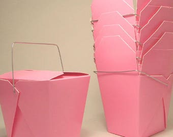 100 Pink Favor Boxes Chinese Take Out Boxes Gift Favors Birthday Anniversary Bridal Wedding Favors Bags Blush Baby Shower Wholesale Boxes