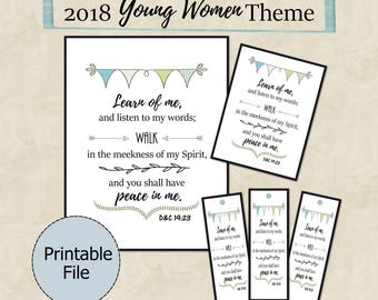 2018 LDS Youth Theme, Peace in Christ printable, Peace in Christ, D&C 19:23, 2018 Mutual Theme, Binder Cover, Young Women, Bookmarks