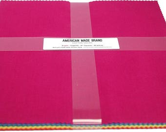 """American Made Bright Layer Cake - Solid Cotton - 42 10"""" Squares"""