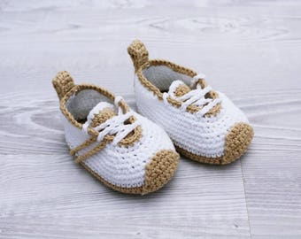 Crochet baby shoes Baby sneakers Baby booties Baby shower, Baby boys shoes, Crochet slippers, Newborn baby booties, Baby handmade shoes
