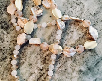 Gold Accented White Quartz Beaded Necklace with Natural Mother of Pearl
