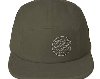 Minimalist Geometric Mountains Five Panel Cap