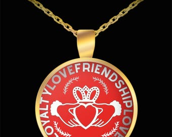 Claddagh Necklace - Best Friend Valentine Gift - Unbiological Sister Irish Celtic - Gold Plated Round Pendant Necklace