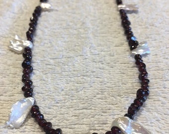 Garnet, freshwater pearl necklace