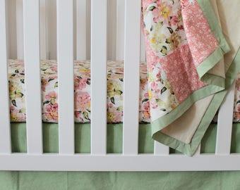 Crib Skirt / Floral Crib Skirt / Baby Girl Floral Bedding / Vintage Inspired Baby Girl Nursery