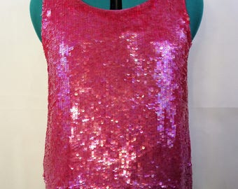 Fuchsia Pink Sequin Vintage top