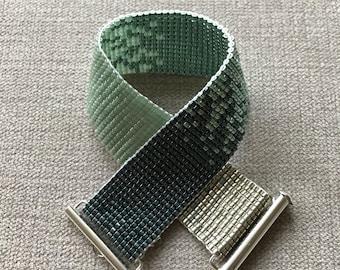 Green silver ombre Miyuki Bracelet / Beaded Bracelet / Miyuki Beads / Miyuki Bead Bracelet / Miyuki Delica / Bead Loom