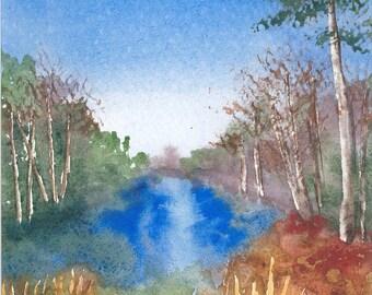 River View - original watercolor