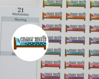 48 change sheets stickers,changing sheets stickers,house chore stickers,planner sticker ------M142P