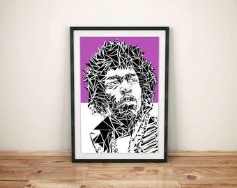 Jimi Hendrix Contemporary Pop Art Print Geometric Purple A4 or A3