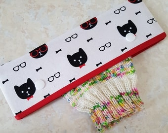 DPN holder, cats, needle cosy, dpn cozy, needle cover, double pointed needle case, knitting, knitting gift