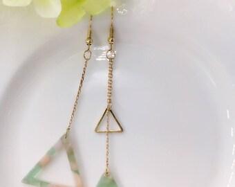 Triangle Earrings, Triangle Dangle Earrings