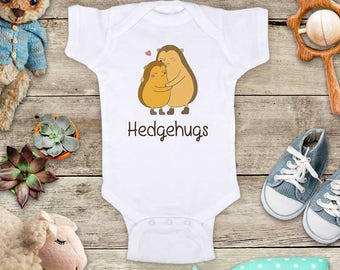 Hedgehugs Hedgehogs hugging Funny Baby Bodysuit Shower Gift - Made in USA - toddler kids youth shirt