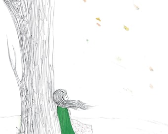 Fall, original art, illustration, drawing, girl, nature, tree, fall, mood, dreaming, hippie, coat, leafs, gentle, for her, office