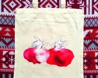 Easter gift, reusable shopping bag, rabbit lover, bunny tote bag, rabbit gift,, tote bag, bunny gift, easter bunny, easter, easter bag