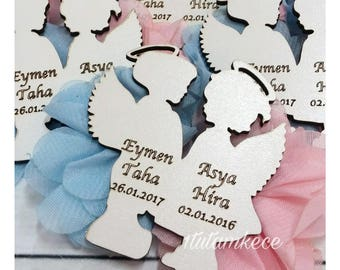 10 Wooden Angel Magnets- Twin Baby Favors- Twin Angels- Wooden Laser cut Gift- Baby Shower Favors- Gender Reveal Gift- Girl and Boy Baptism