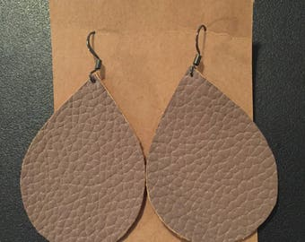 Taupe Faux Leather Earrings