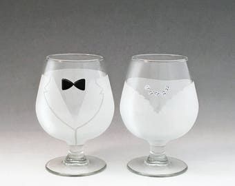 Bride and Groom Brandy Glasses -  - Make your wedding day even more elegant and special with these handmade glasses!