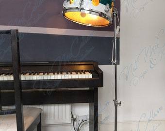 Standing Drum Lamp - Dark Green - Musical Light - Up-cycled Lighting - Bespoke Lamp - Adjustable Piano Lamp