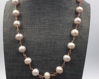 12mm Blush Pearls on Rose Gold wire