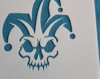 Stencil Joker Puppet Doll decal stencil canvas fabric airbrush vintage design tattoo template Wallpaper