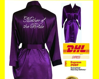 PURPLE Bridesmaid Robes / Bride Robe / Bridal Party Robes / Bridesmaid Gift / Bridal Robe / Monogrammed /Personalised Robe