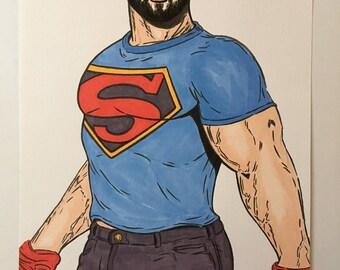 GAY MALE ART Super Bear Bearded Muscle Hunk Superman Geek Lgbt Sexy Pride Stud Hot Guy Jock Illustration