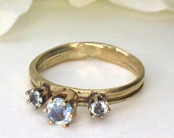 Aquamarine Engagement Ring, Three Stone ring, 14 karat gold, nature ring, organic ring, promise ring, orokoro