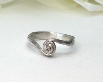 Wedding Ring, Sterling Silver, swirl ring, mitsuro, nature ring, organic ring, orokoro