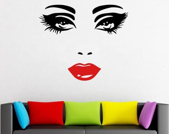 Wall Decal Window Sticker Beauty Salon Woman Face Eyelashes Lashes Eyebrows Brows t667